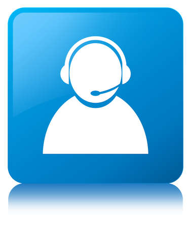 Customer care icon isolated on cyan blue square button reflected abstract illustration