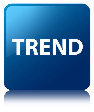 Trend isolated on blue square button reflected abstract illustration