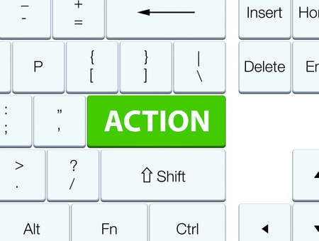 Action isolated on soft green keyboard button abstract illustration Фото со стока - 89770973