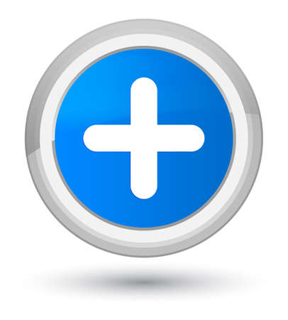 Plus icon isolated on prime cyan blue round button abstract illustration