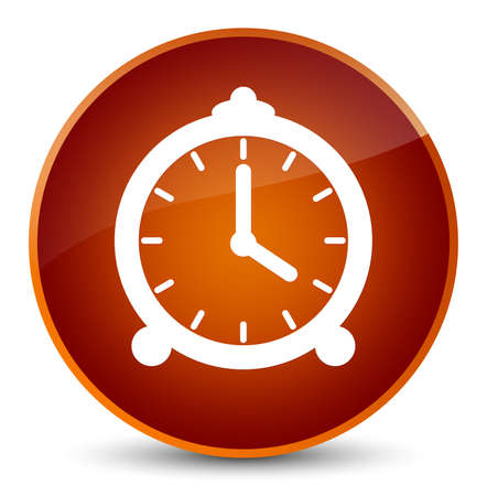 up time: Alarm clock icon isolated on elegant brown round button abstract illustration