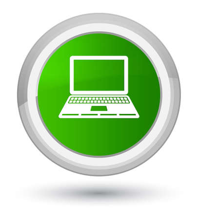 Laptop icon isolated on prime green round button abstract illustration Stock Photo