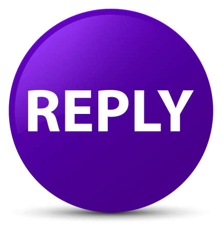 Reply isolated on purple round button abstract illustration Stock Photo