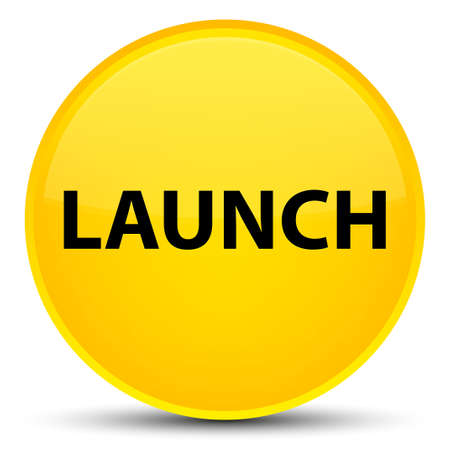 Launch isolated on special yellow round button abstract illustration Stock Photo