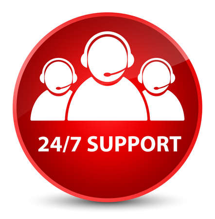 247 Support (customer care team icon) isolated on elegant red round button abstract illustration