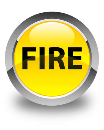 Fire isolated on glossy yellow round button abstract illustration