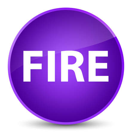 Fire isolated on elegant purple round button abstract illustration