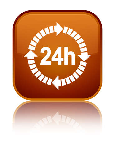 24 hours delivery icon isolated on special brown square button reflected abstract illustration