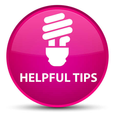 Helpful tips (bulb icon) isolated on special pink round button abstract illustration