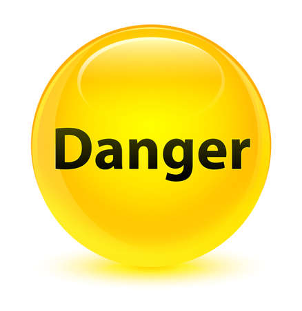 Danger isolated on glassy yellow round button abstract illustration
