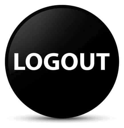 Logout isolated on black round button abstract illustration