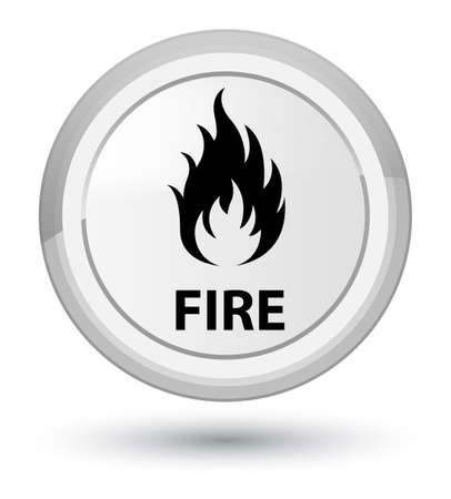 Fire isolated on prime white round button abstract illustration Stock Photo