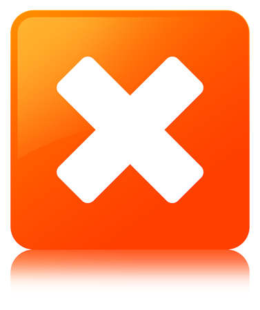 Cancel icon isolated on orange square button reflected abstract illustration