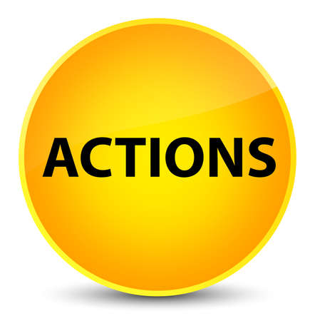 Actions isolated on elegant yellow round button abstract illustration