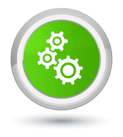 Gears icon isolated on prime soft green round button abstract illustration Stock Photo