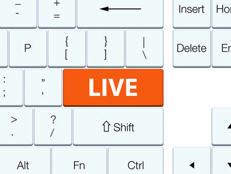 Live isolated on orange keyboard button abstract illustration