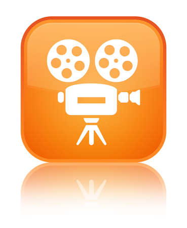 Video camera icon isolated on special orange square button reflected abstract illustration