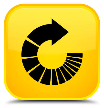 Rotate arrow icon isolated on special yellow square button abstract illustration Stock Photo