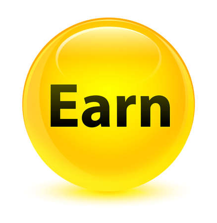 Earn isolated on glassy yellow round button abstract illustration Stock Photo