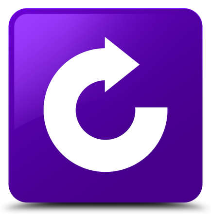 Reply arrow icon isolated on purple square button abstract illustration Stock Photo