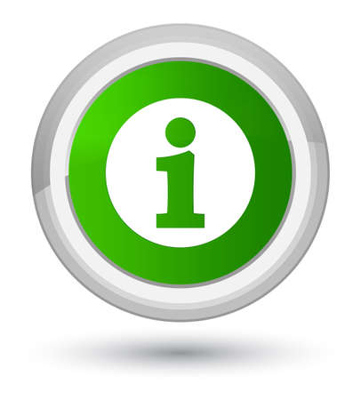 Info icon isolated on prime green round button abstract illustration