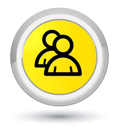 Group icon isolated on prime yellow round button abstract illustration