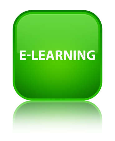 special education: E-learning isolated on special green square button reflected abstract illustration