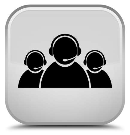 Customer care team icon isolated on special white square button abstract illustration