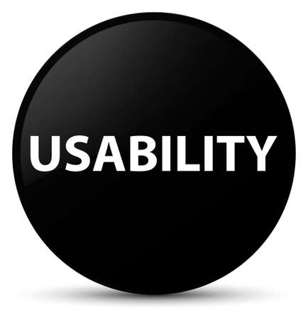 Usability isolated on black round button abstract illustration Stock Photo