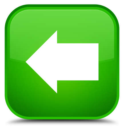 Back arrow icon isolated on special green square button abstract illustration Stock Photo