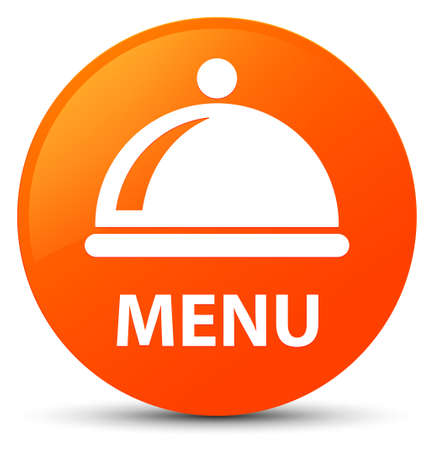 Menu (food dish icon) isolated on orange round button abstract illustration Stock Photo