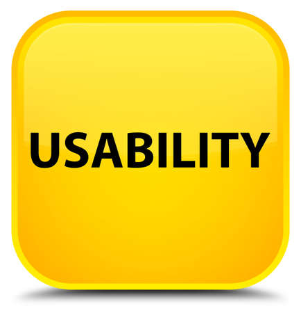 Usability isolated on special yellow square button abstract illustration