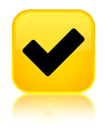 Validate icon isolated on special yellow square button reflected abstract illustration
