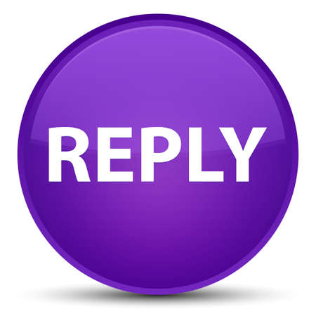 Reply isolated on special purple round button abstract illustration