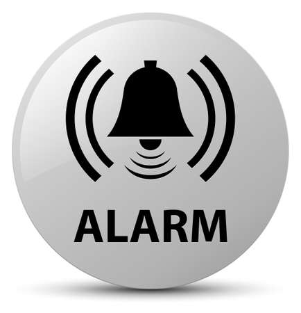 Alarm (bell icon) isolated on white round button abstract illustration Stock Photo