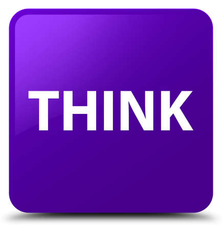 Think isolated on purple square button abstract illustration