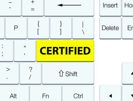 Certified isolated on yellow keyboard button abstract illustration