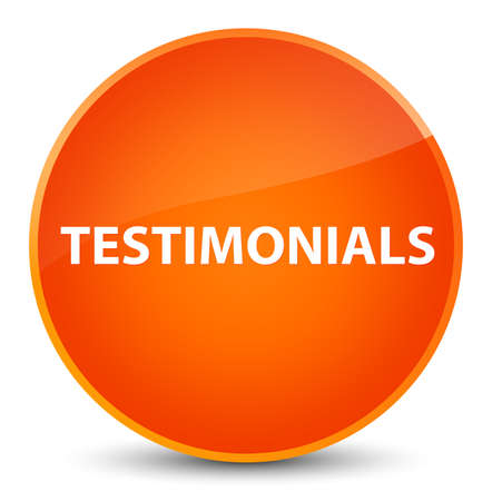 Testimonials isolated on elegant orange round button abstract illustration Stock Photo