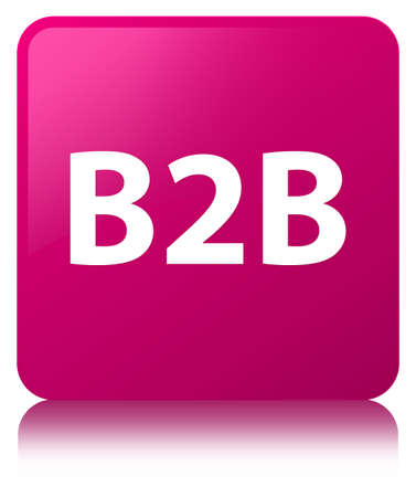 B2b isolated on pink square button reflected abstract illustration Stock Photo