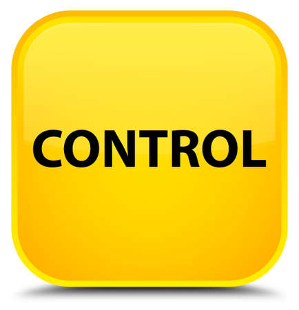 Control isolated on special yellow square button abstract illustration Stock Photo