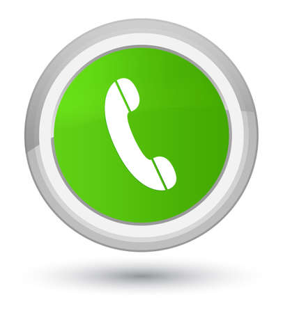 Phone icon isolated on prime soft green round button abstract illustration Stock Photo