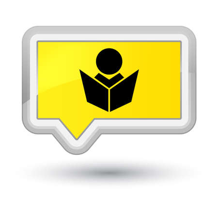 Elearning icon isolated on prime yellow banner button abstract illustration Stock Photo