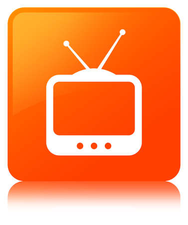 TV  icon isolated on orange square button reflected abstract illustration