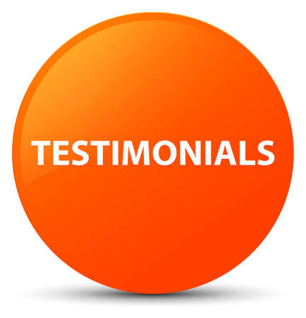 Testimonials isolated on orange round button abstract illustration
