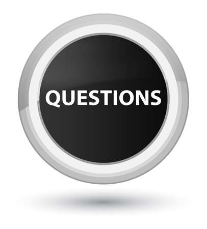 Questions isolated on prime black round button abstract illustration Фото со стока