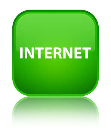 Internet isolated on special green square button reflected abstract illustration