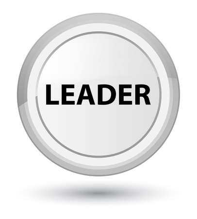 Leader isolated on prime white round button abstract illustration Фото со стока