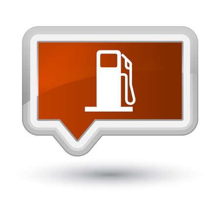 Fuel dispenser icon isolated on prime brown banner button abstract illustration