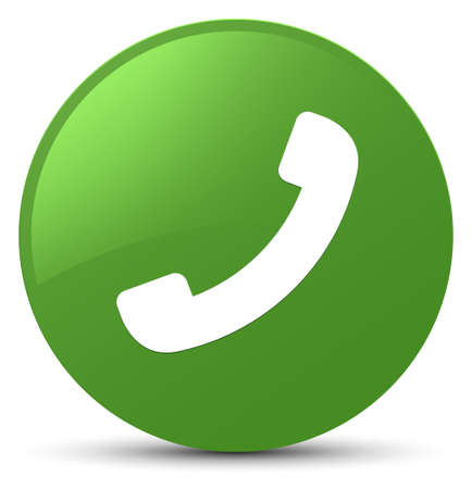 Phone icon isolated on soft green round button abstract illustration Stock Photo