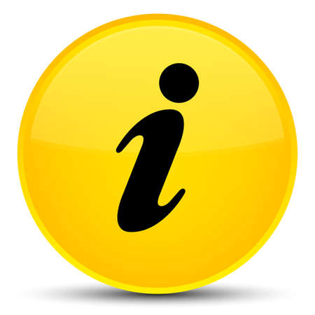Info icon isolated on special yellow round button abstract illustration